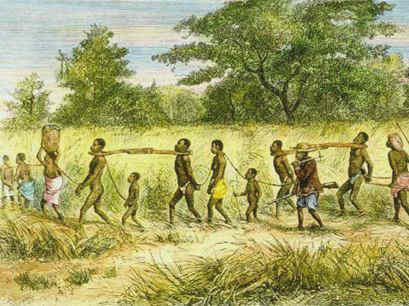 Slaves being marched to the coast to be sold